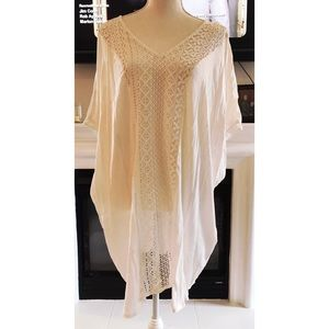 Other - Linen Crochet & Lace Cover up Tunic plus XL